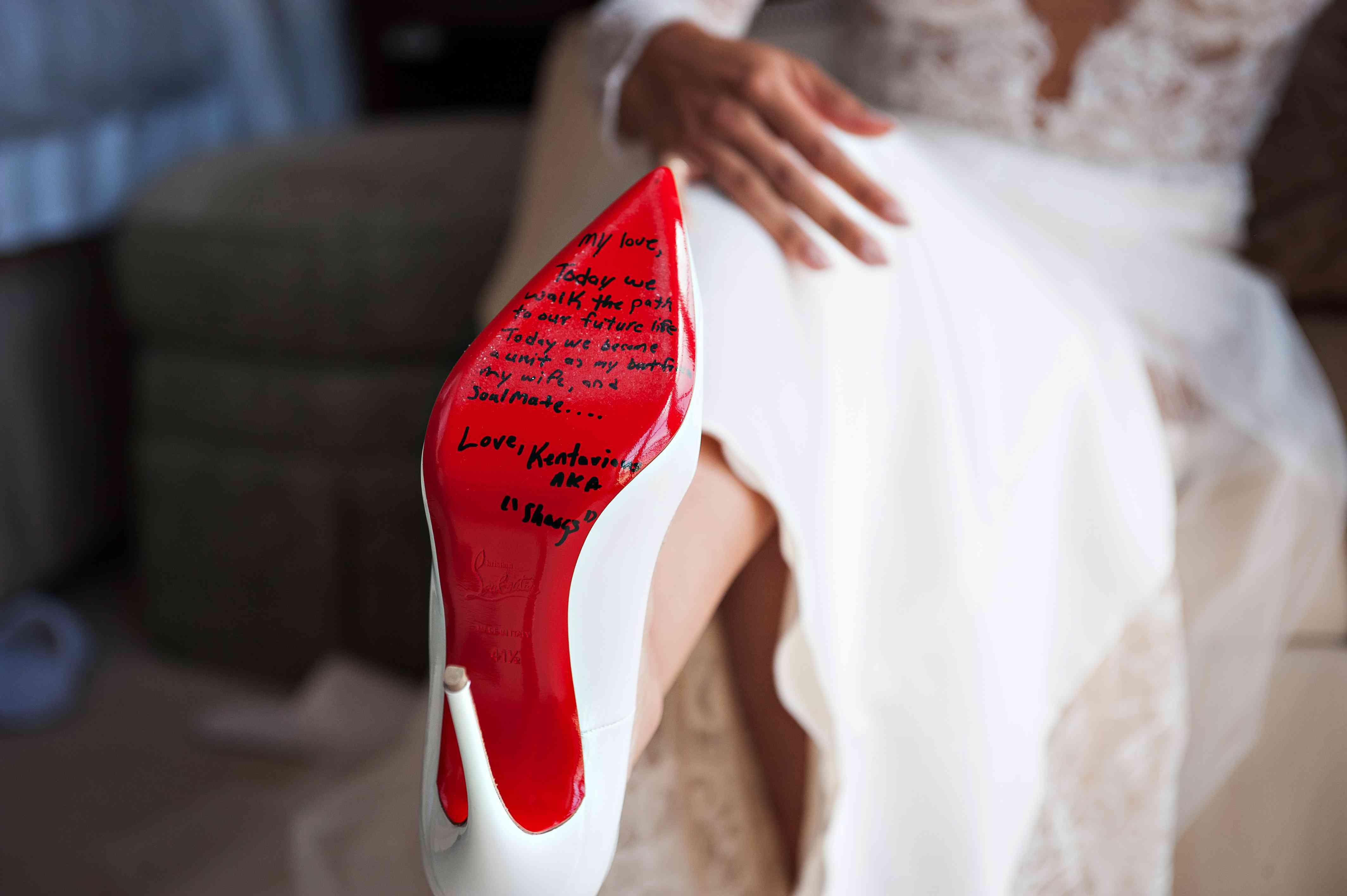 Love letter on bottom of shoe