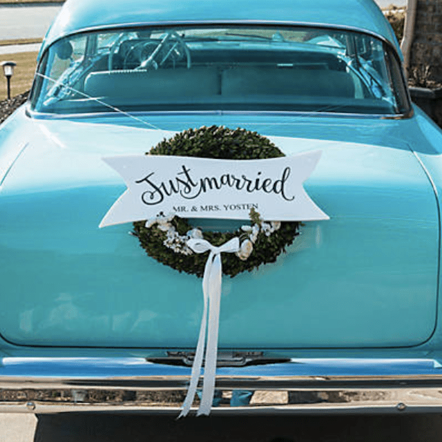 Personalized Just Married Shaped Sign