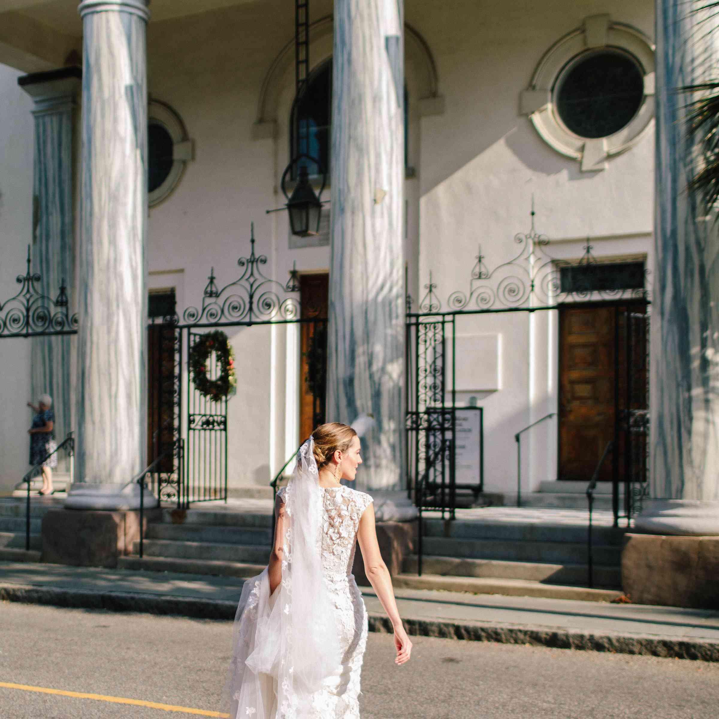 <p>Bride Walking toward church</p><br><br>