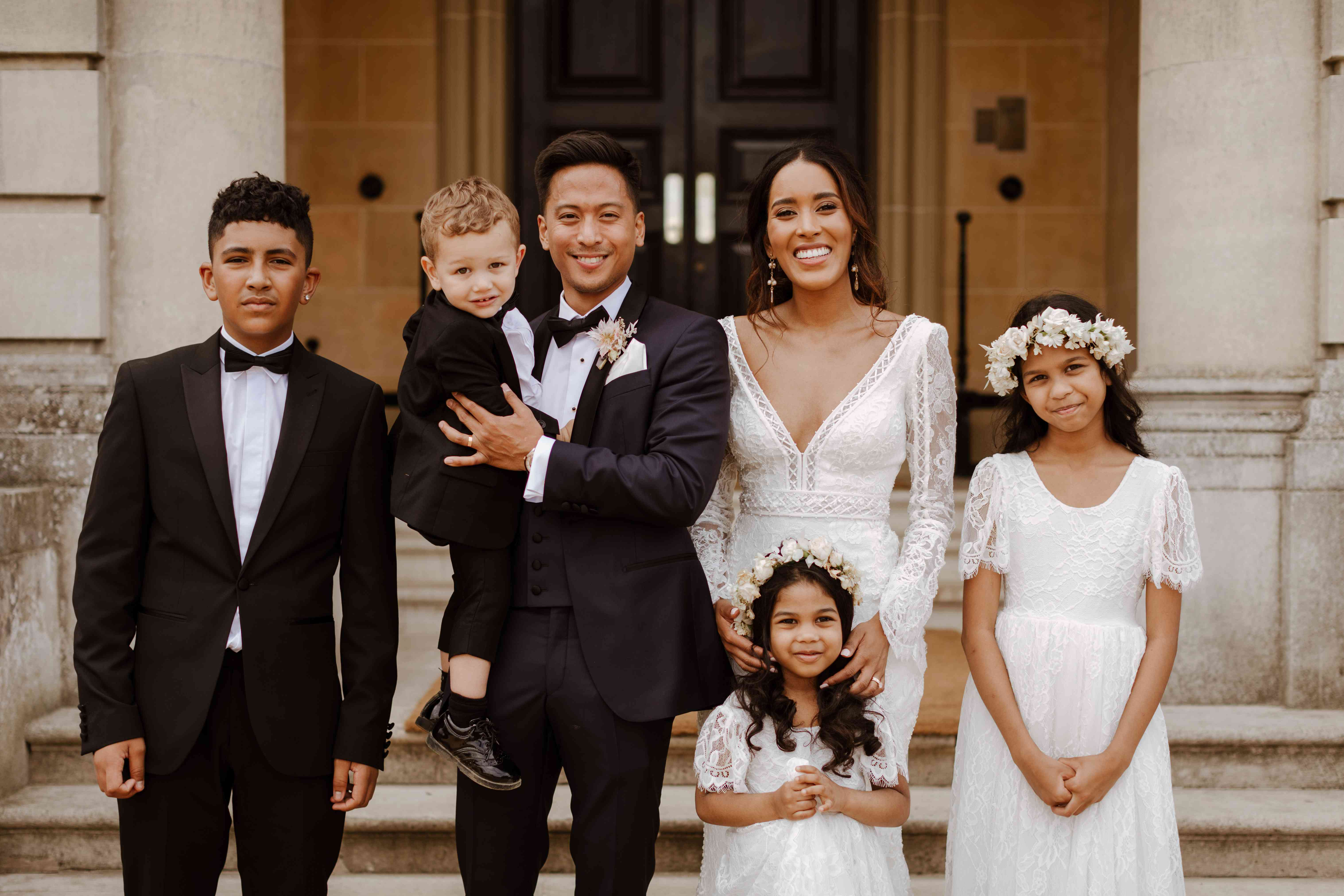 The ring bearers and flower girls