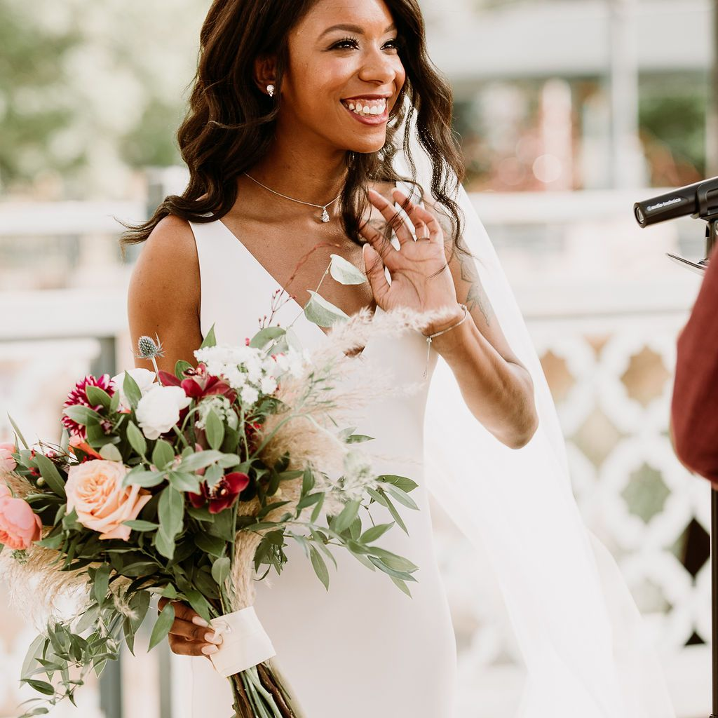 Close up of the bride during her vows