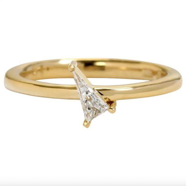 1stDibs Elongated Modified Trillion Diamond Tenuis Verto Ring