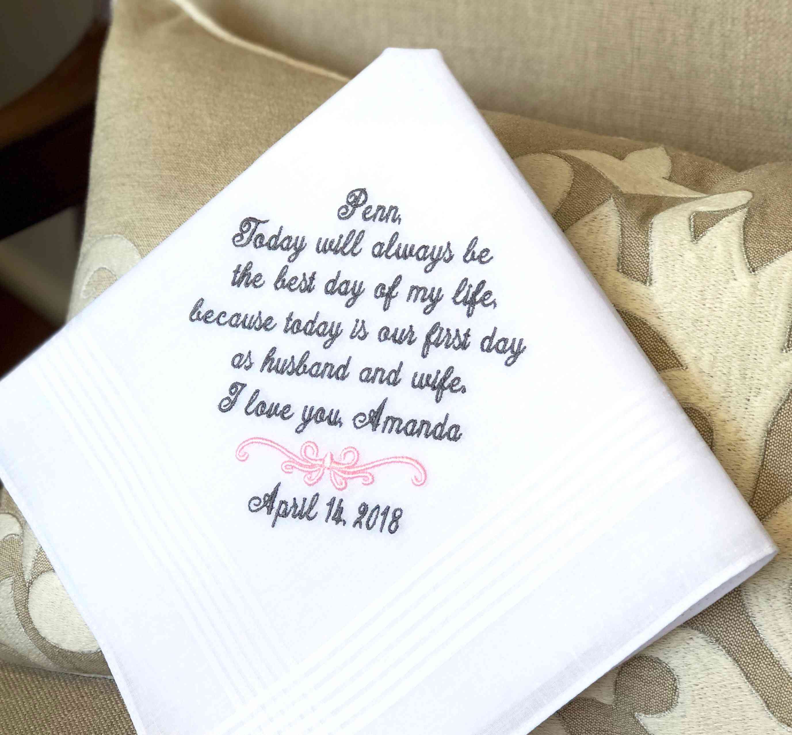 You are the love of my life For the Groom personalised wedding handkerchief