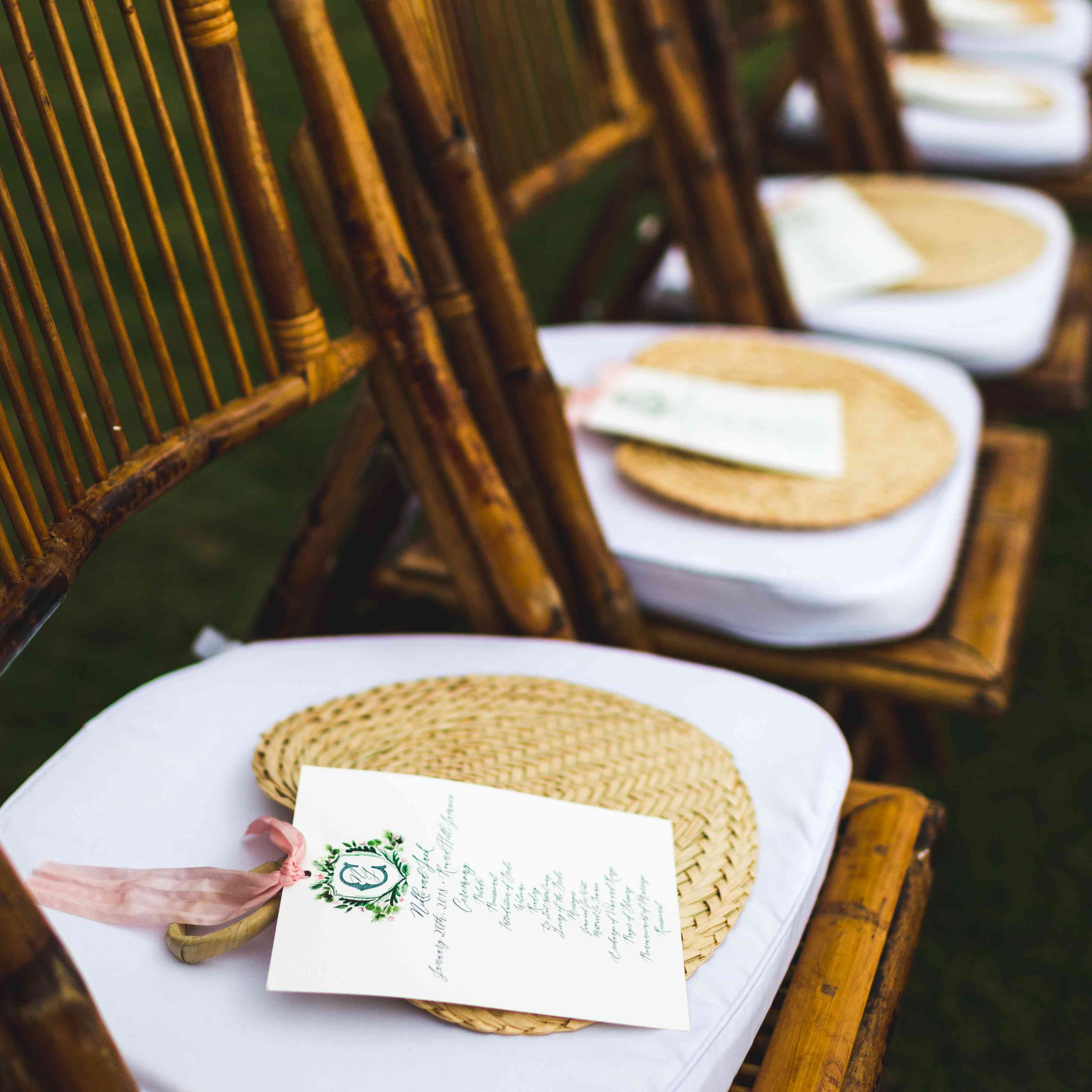 bamboo chairs and woven fans