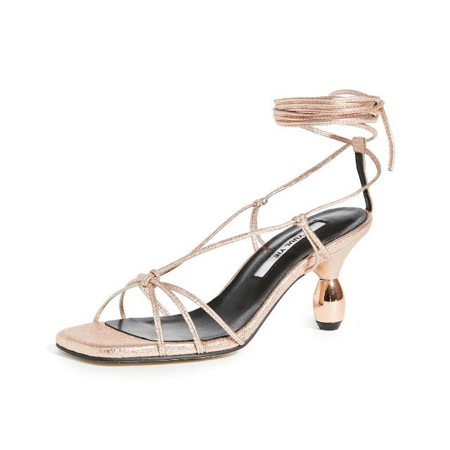 Strappy lace-up rose gold heeled sandals
