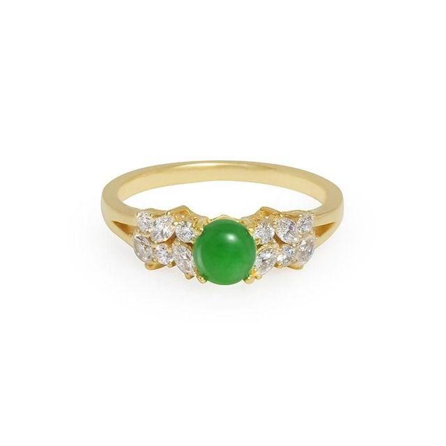 HN Jewelry Natural Jade & Marquise Diamond Ring