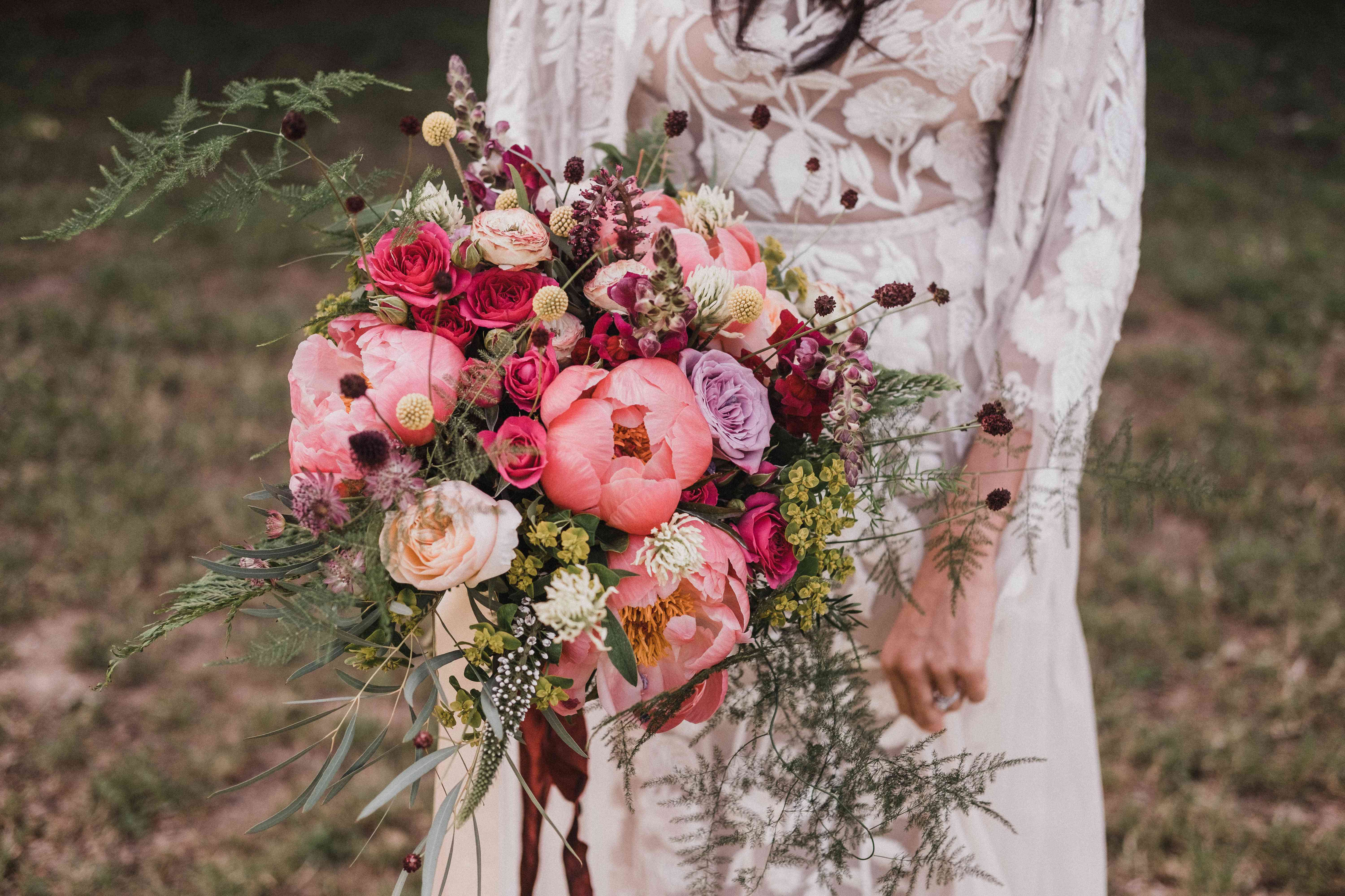 Bohemian Peony bouquet with ferns