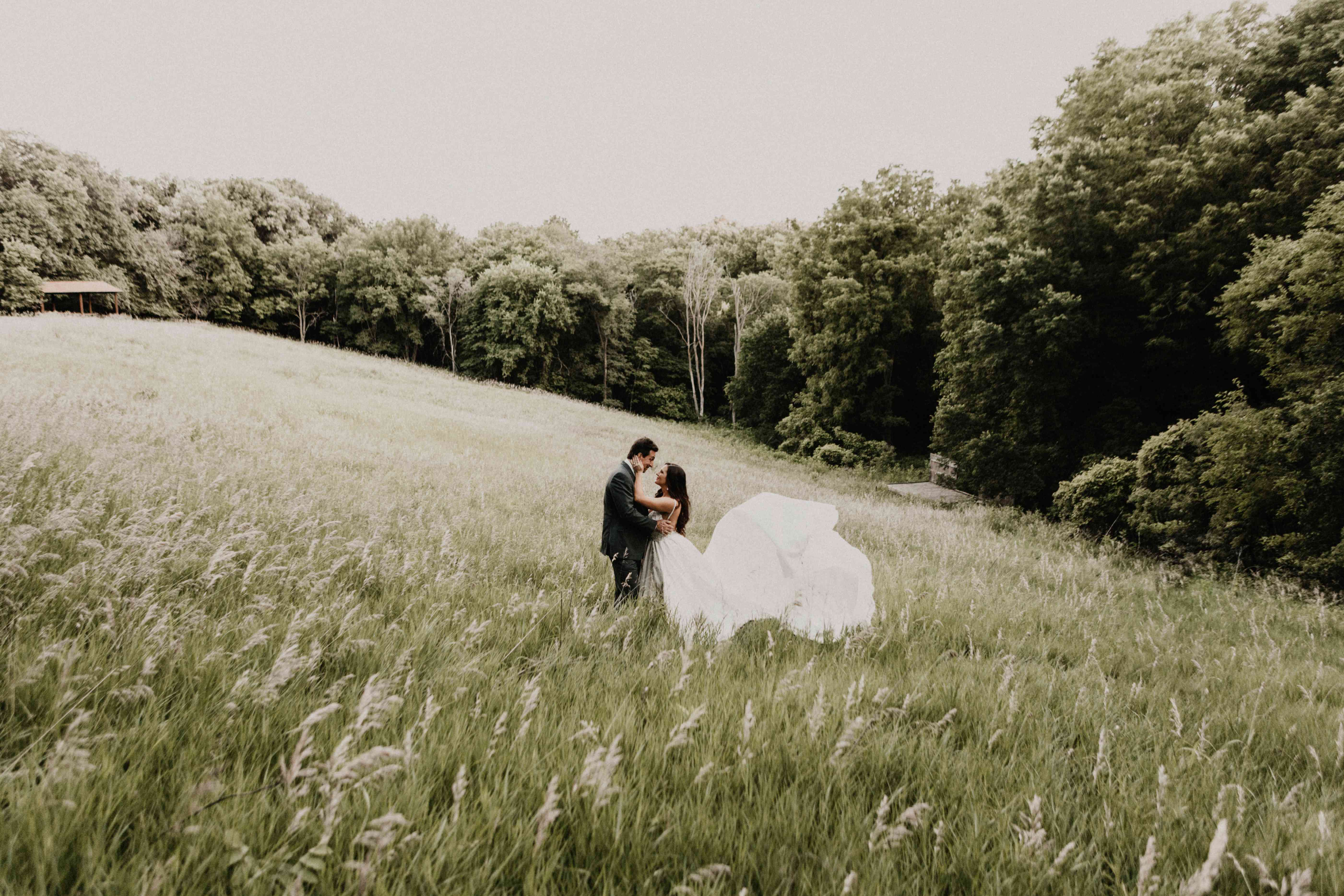 <p>Wedding photo at a field in Omaha, Nebraska</p>
