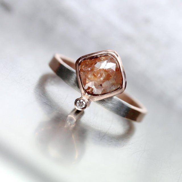 Nangijala Jewelry Rose Cut Diamond Engagement Ring