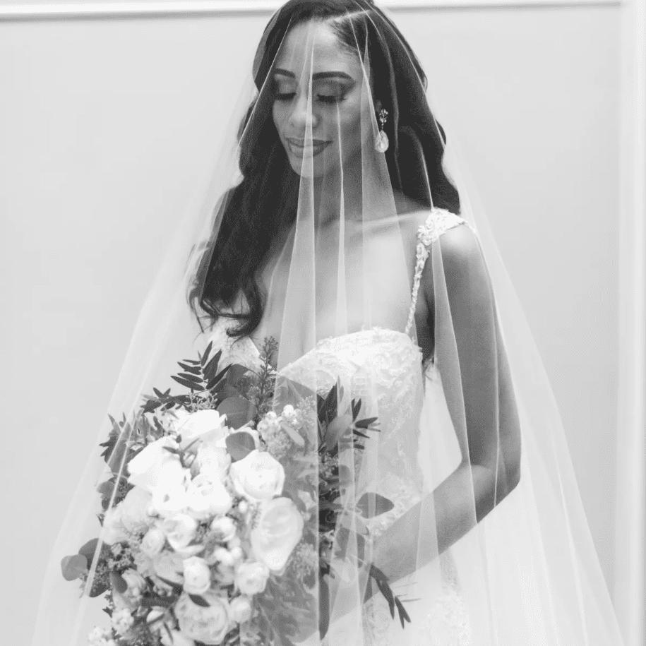 Bridal portrait with cascading veil