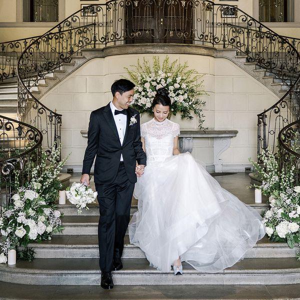 Couple descending a staircase