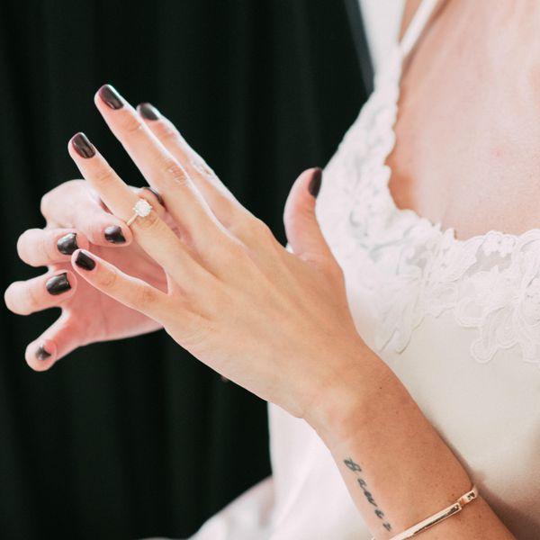 dark nails engagement ring tattoos