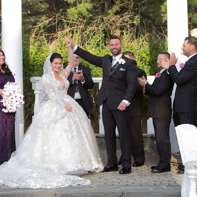 "Jenni ""JWoww"" Farley marries Roger Mathews in a custom lace Ysa Makino ball gown with a 10-foot train, 2015"