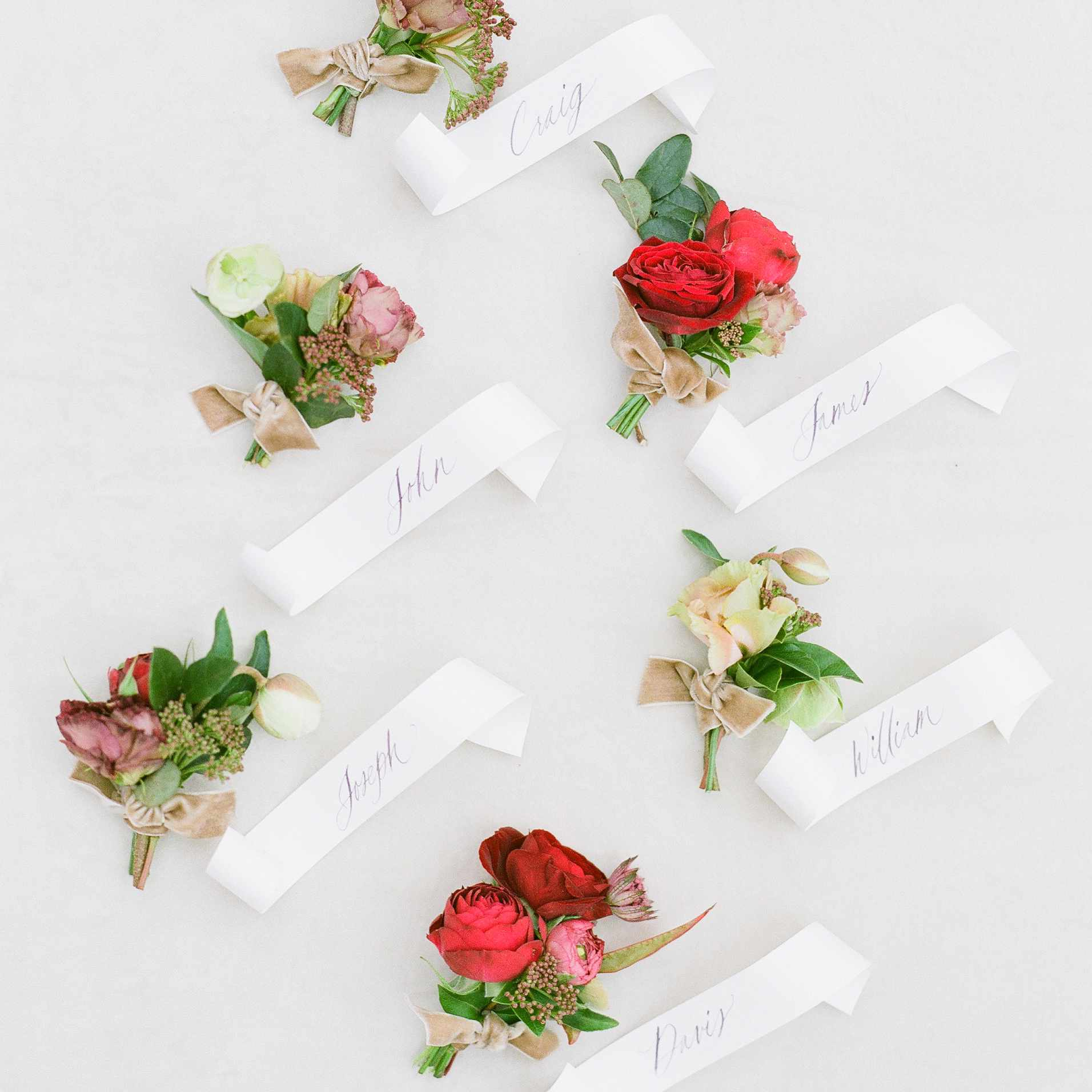 Wintry Boutonnieres with roses