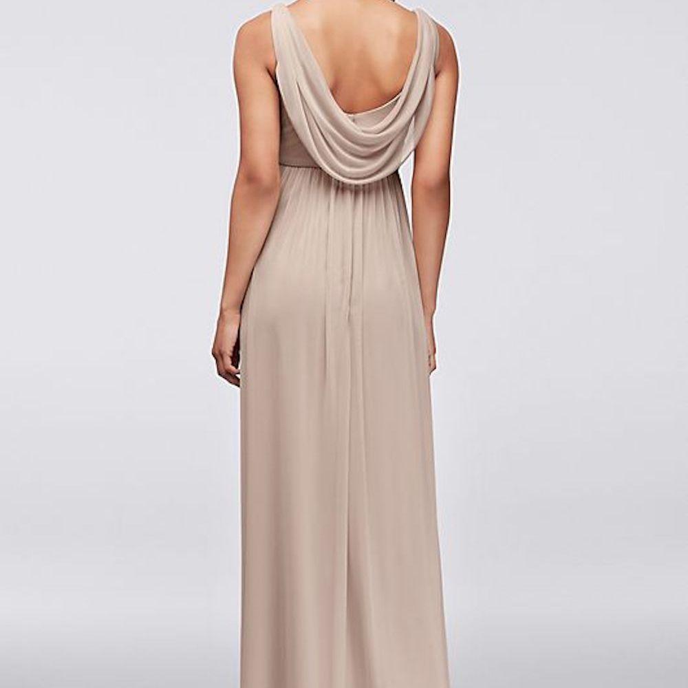 David's Bridal Long Mesh Dress With Cowl Back Detail