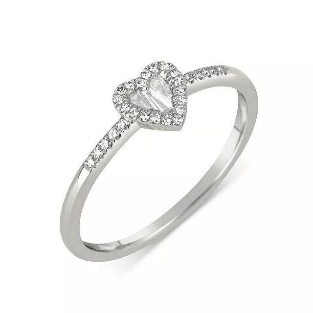 Meira T 14K White Gold Diamond Baguette Heart Ring
