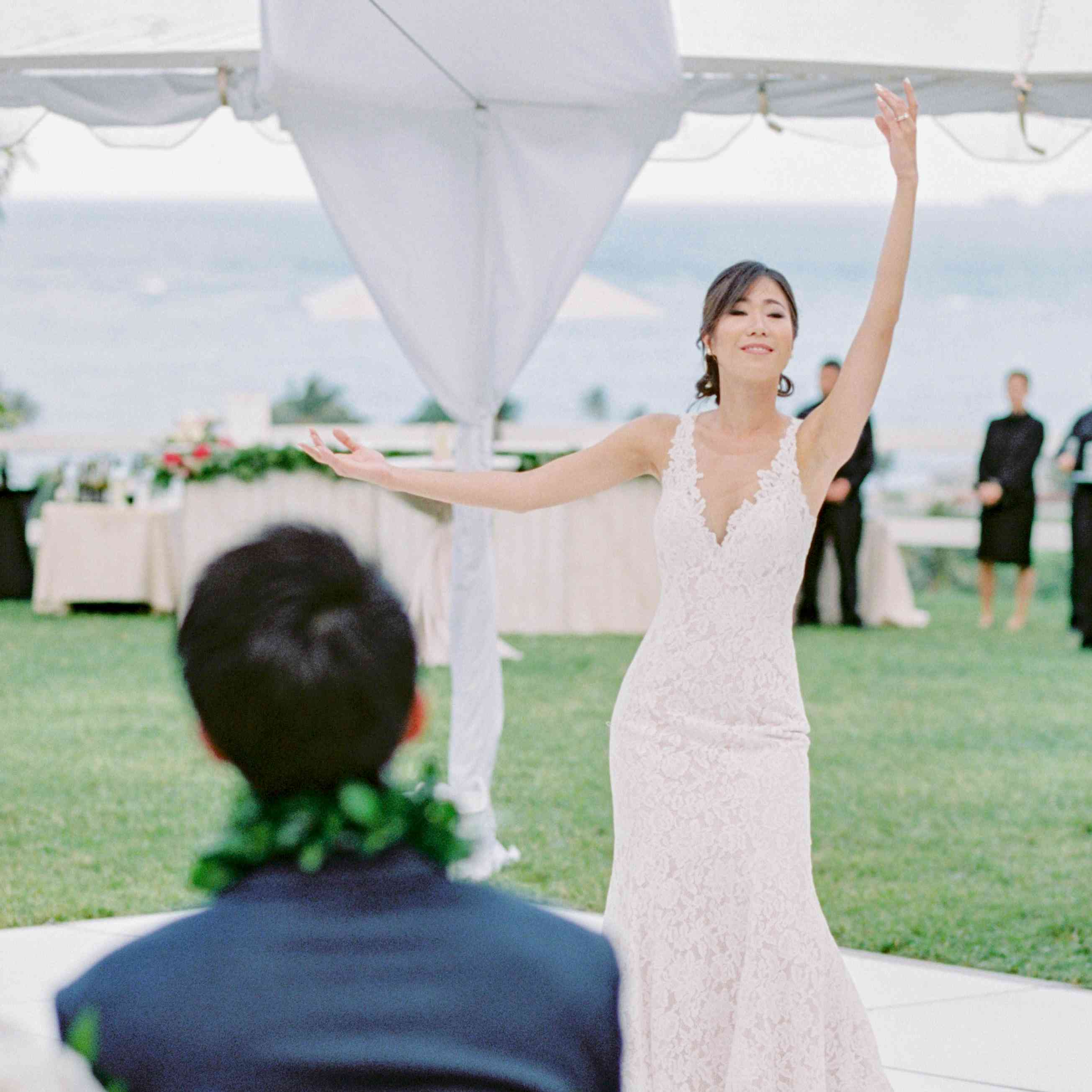 bride hula dancing
