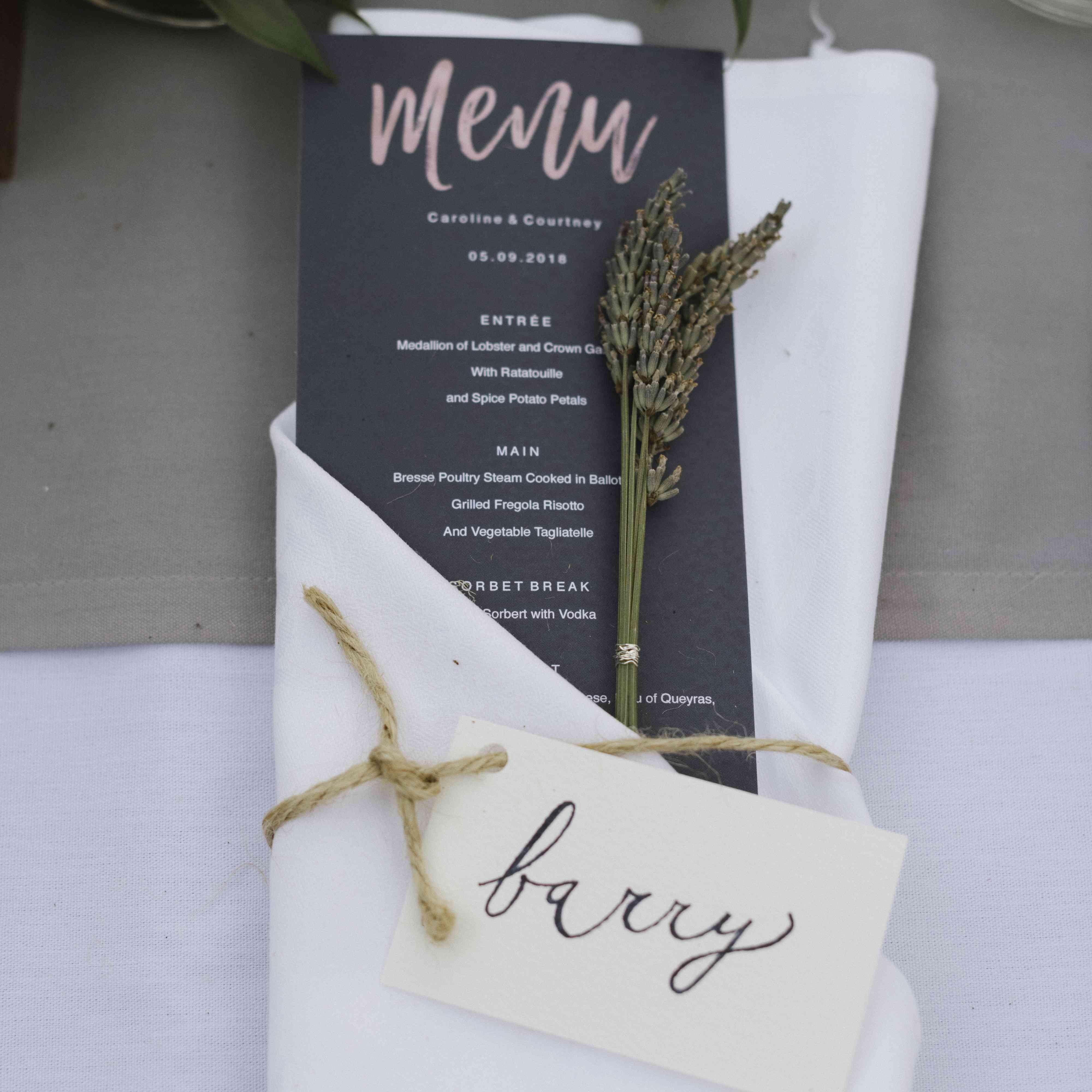 <p>wedding reception dinner menu tucked into napkin</p><br><br>