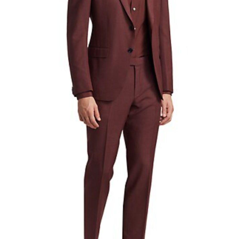 wool burgundy suit