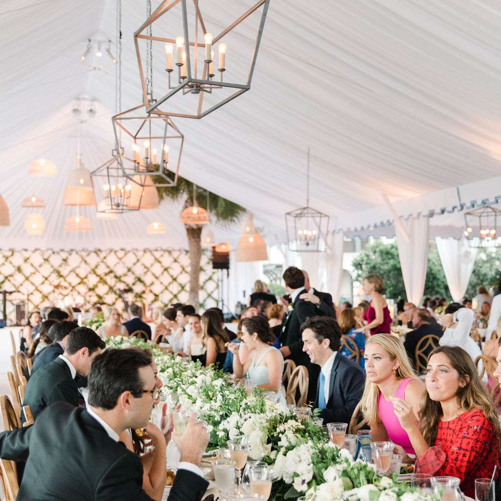 timeless southern wedding, guests eating reception