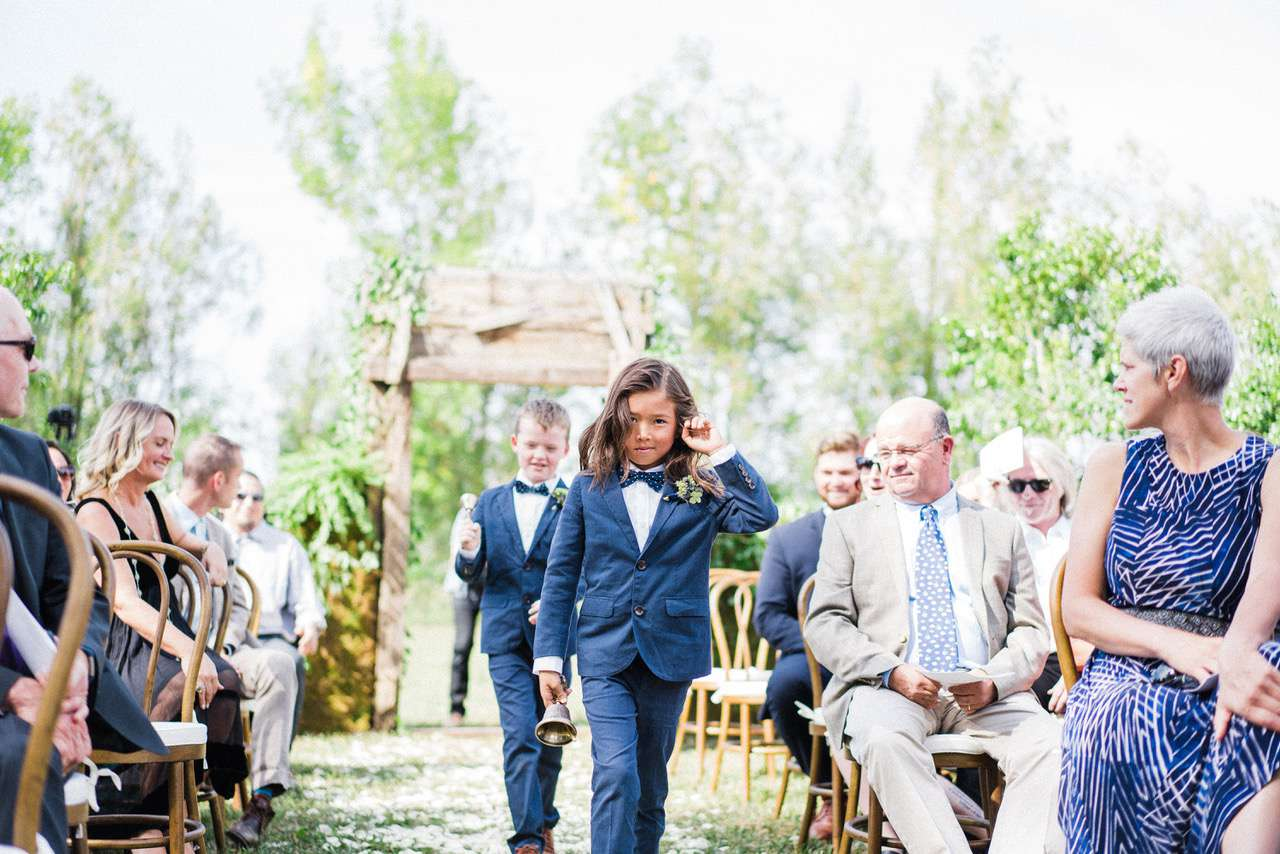 Young Bell Ringers Walking Down the Aisle