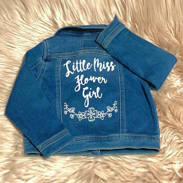 Etsy Little Miss Flower Girl Denim Jacket