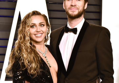 Liam Hemsworth and Miley Cyrus attend the 2019 Vanity Fair Oscar Party.