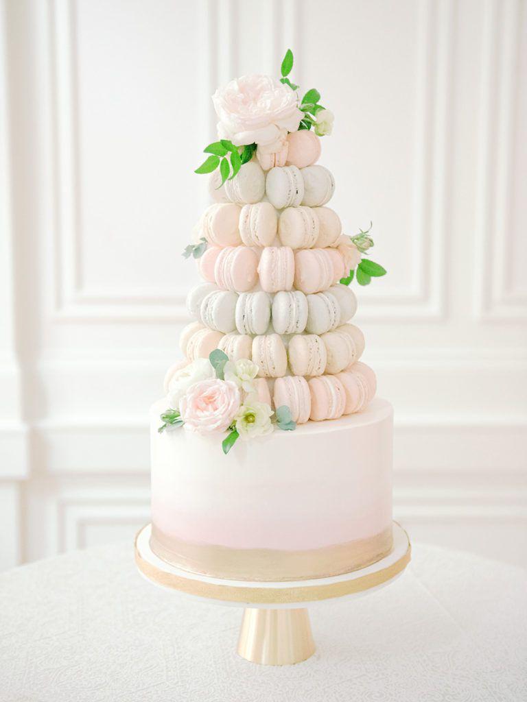 Pastel macaron wedding cake