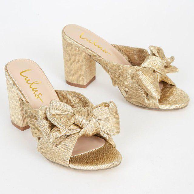 gold bow heels