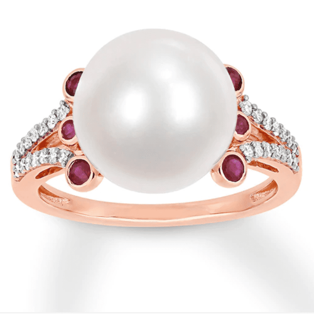 pearl ring with ruby accents
