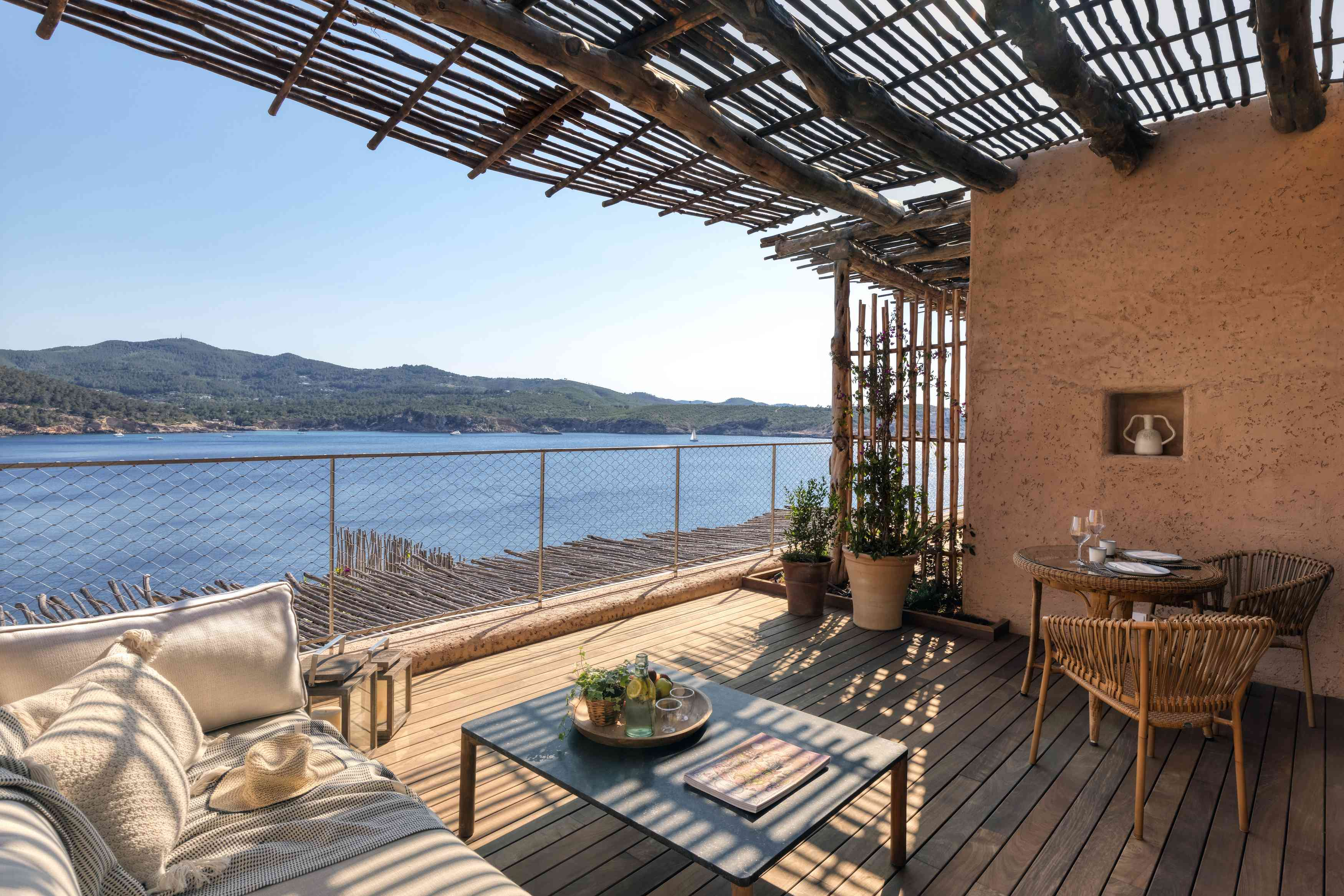 Views from a suite overlooking the water from Six Sense in Ibiza