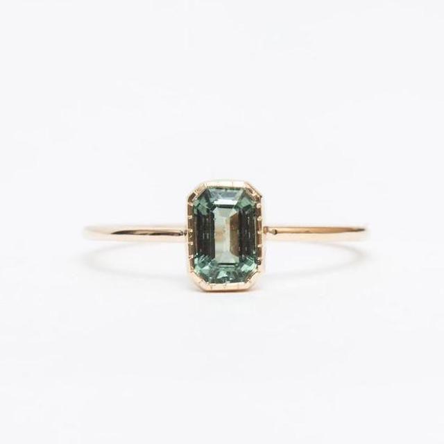 No. 3 Emerald-Cut Green Sapphire Wisp Ring