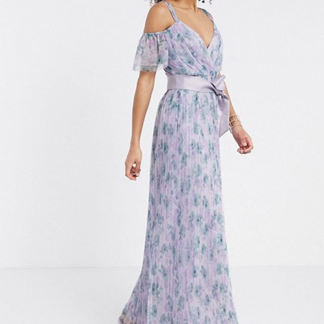Anaya With Love Tulle Cold Shoulder Frill Maxi Dress $151