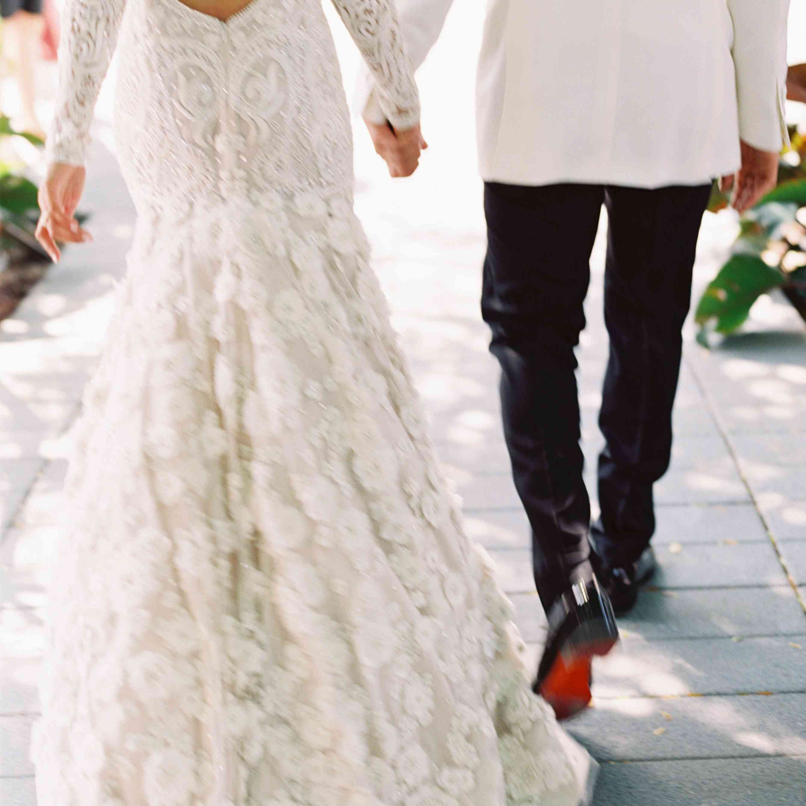 Bride and Groom Hand-in-Hand