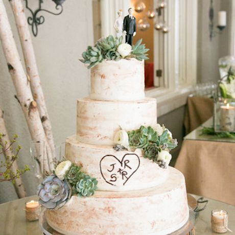 A four-tiered rustic wedding cake adorned with green succulents and a tree-inspired carving