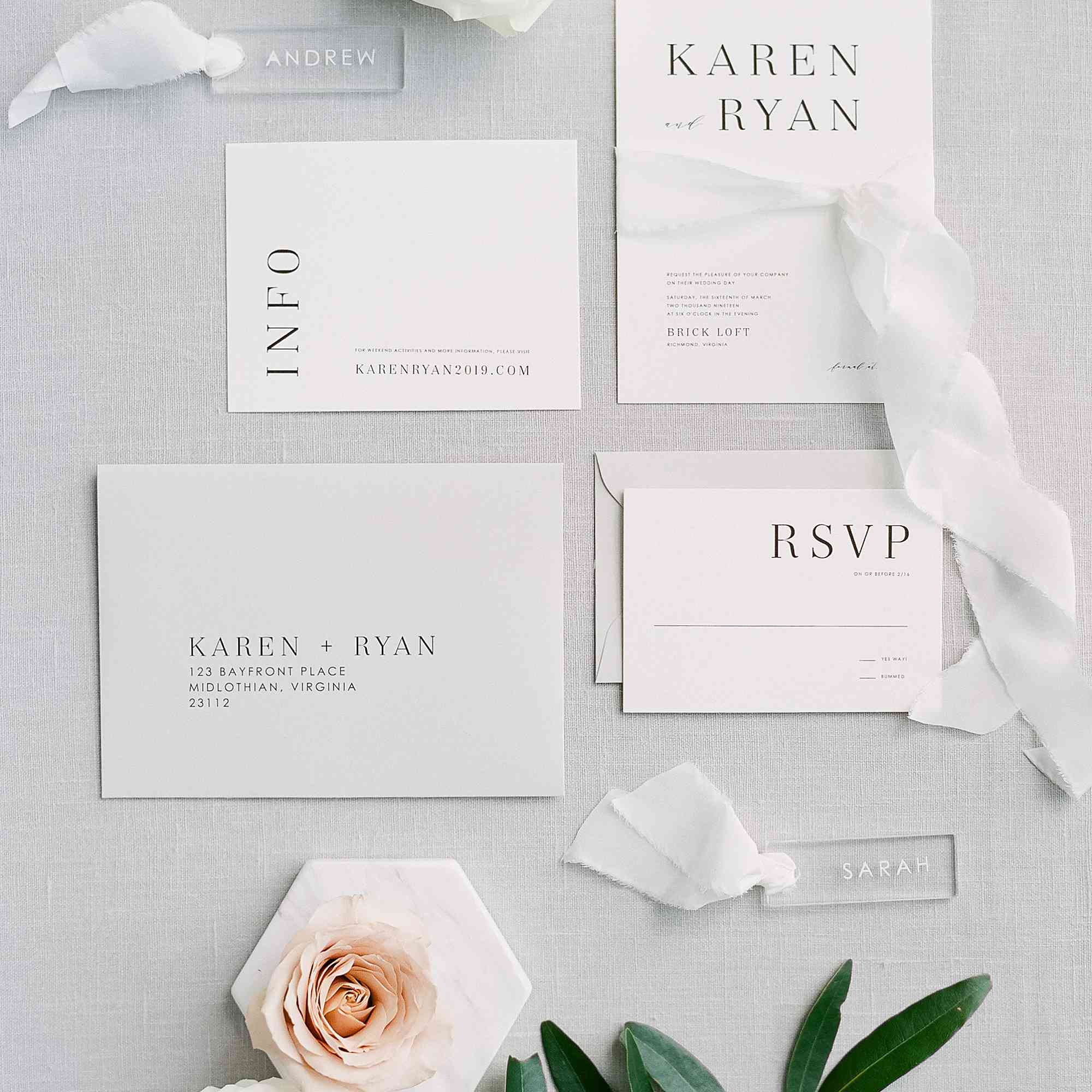 Wedding invitation suite with a website info insert