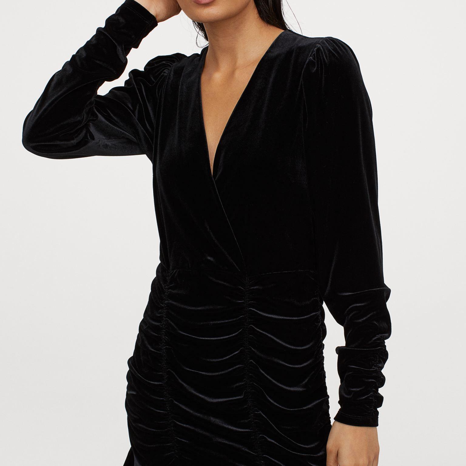 Draped Velour Dress