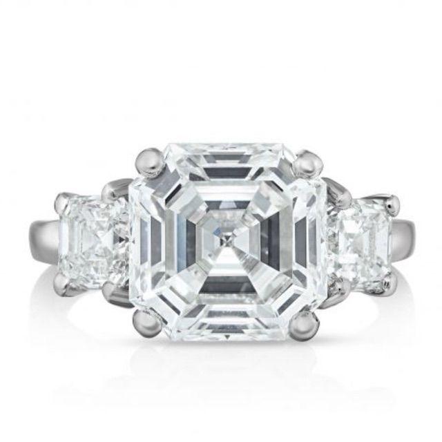 Oscar Heyman Platinum Asscher Cut Diamond Ring