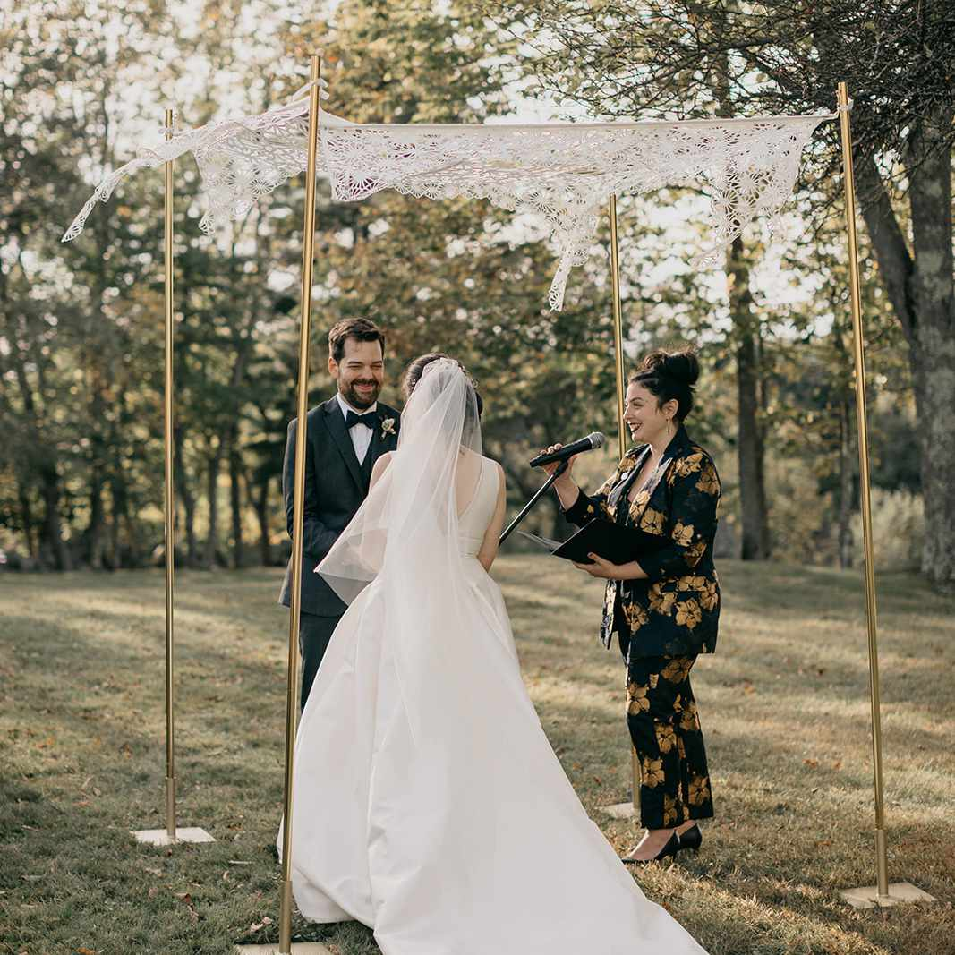 Bride at groom during wedding ceremony