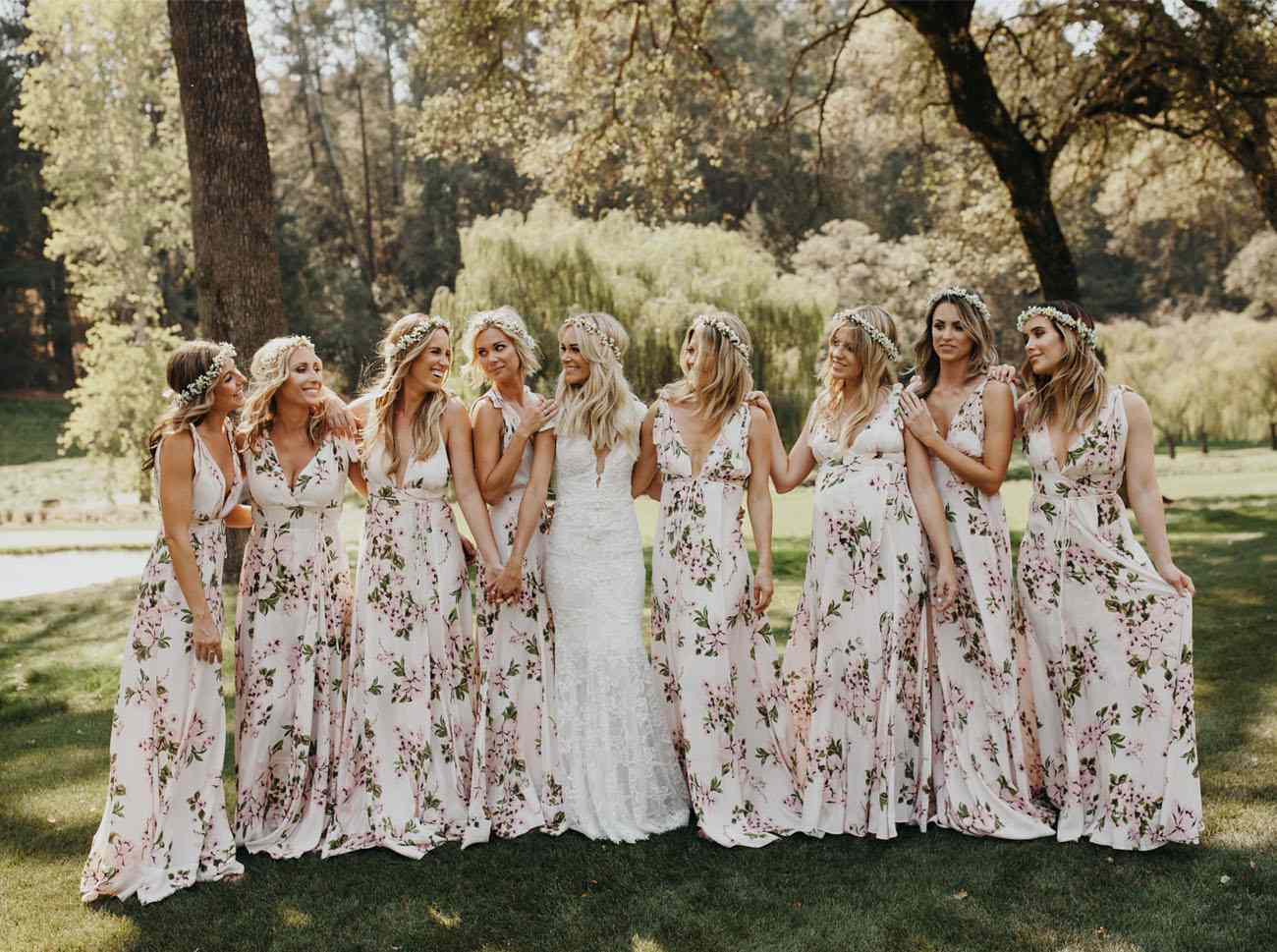 bridesmaids in flower crowns