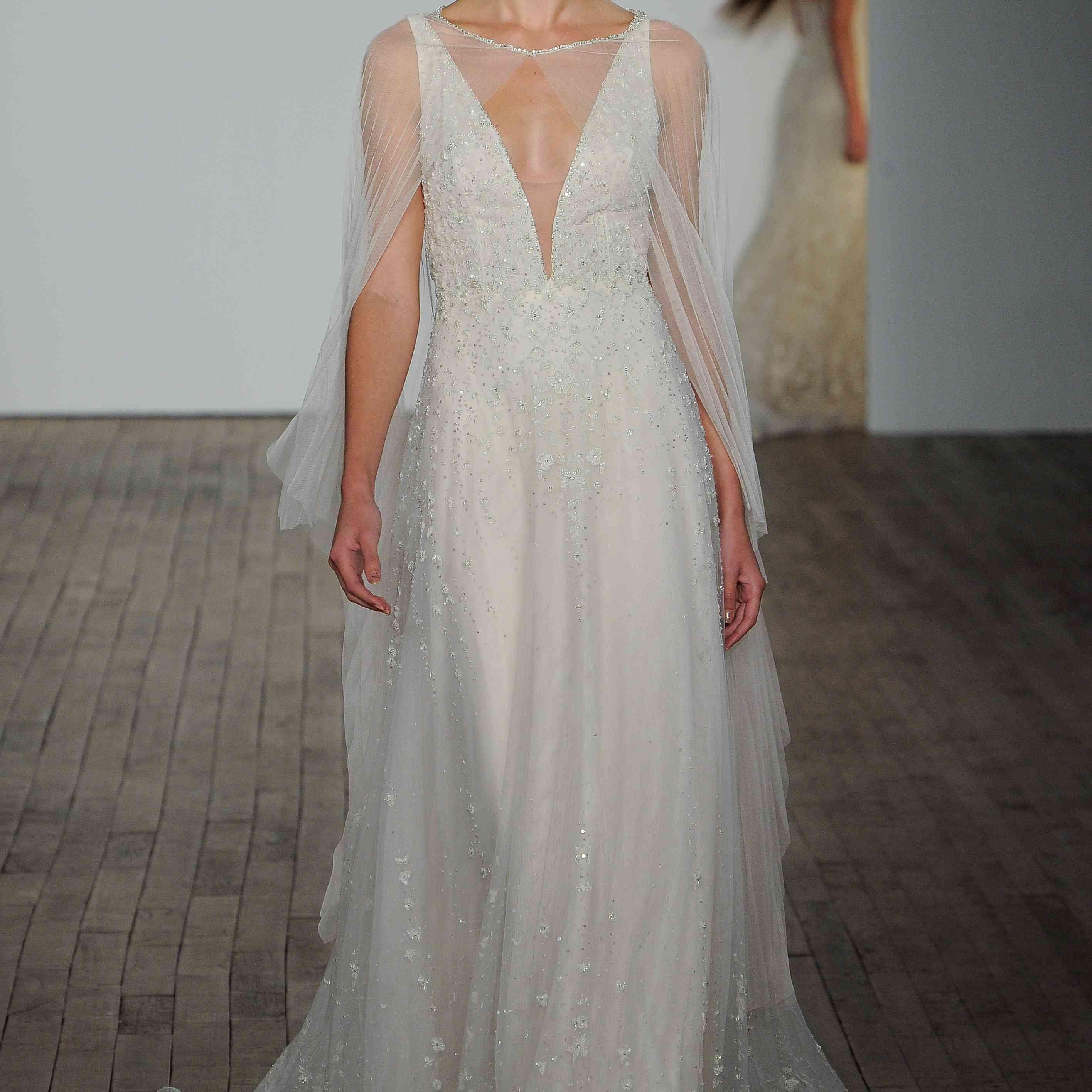 Isidora plunging wedding dress lazaro