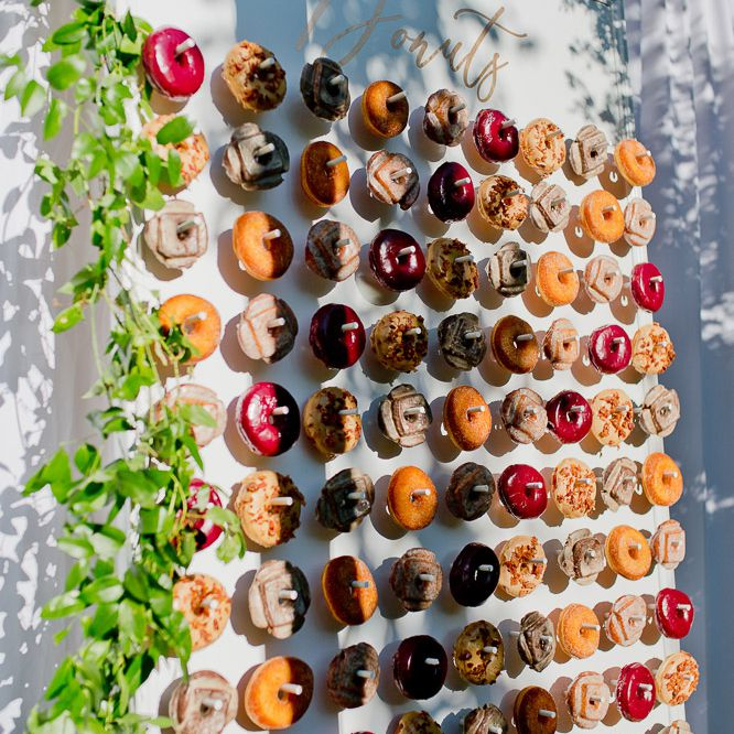 Donut wall featuring a variety of donuts