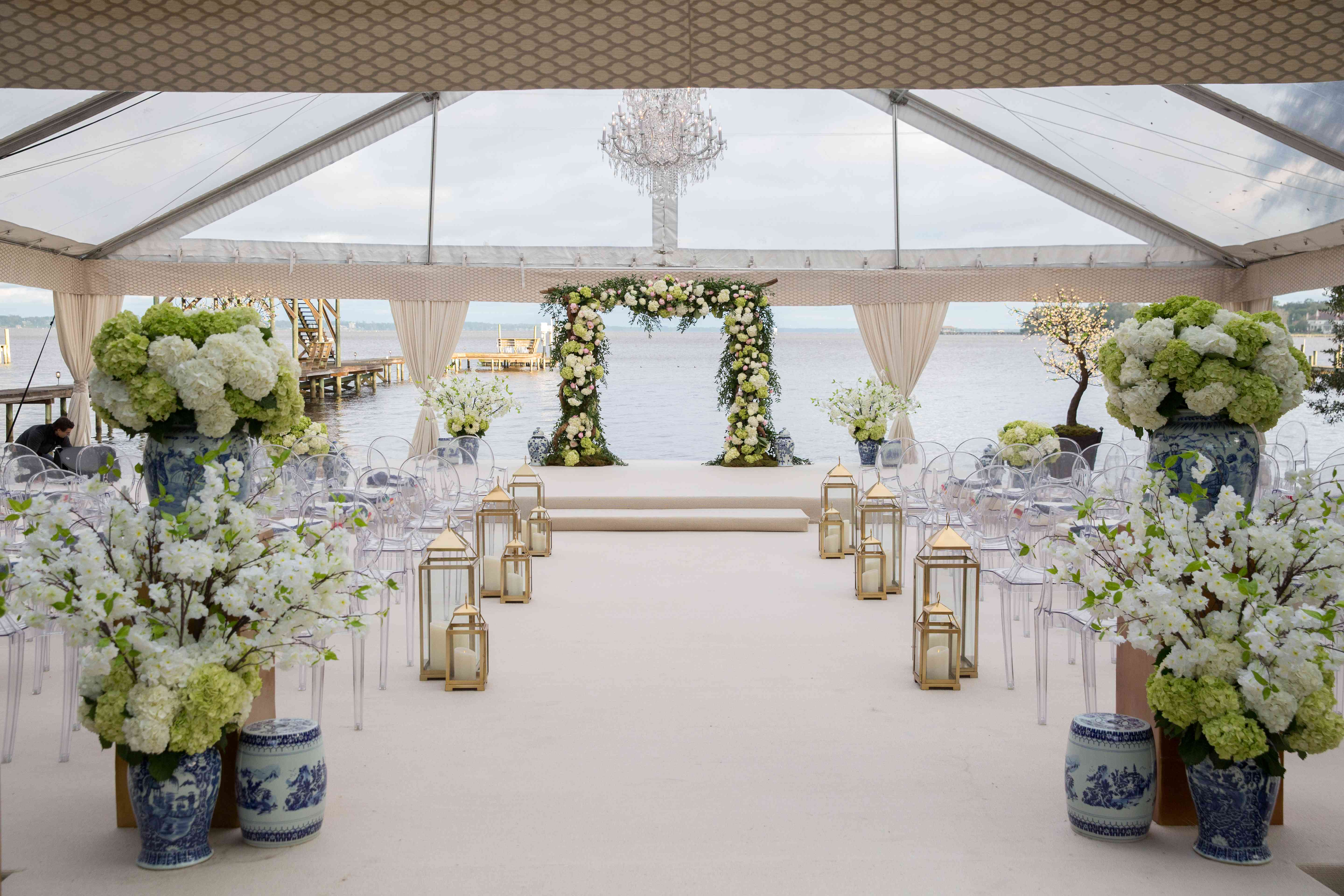 <p>Ceremony Space with Flower Arch</p><br><br>