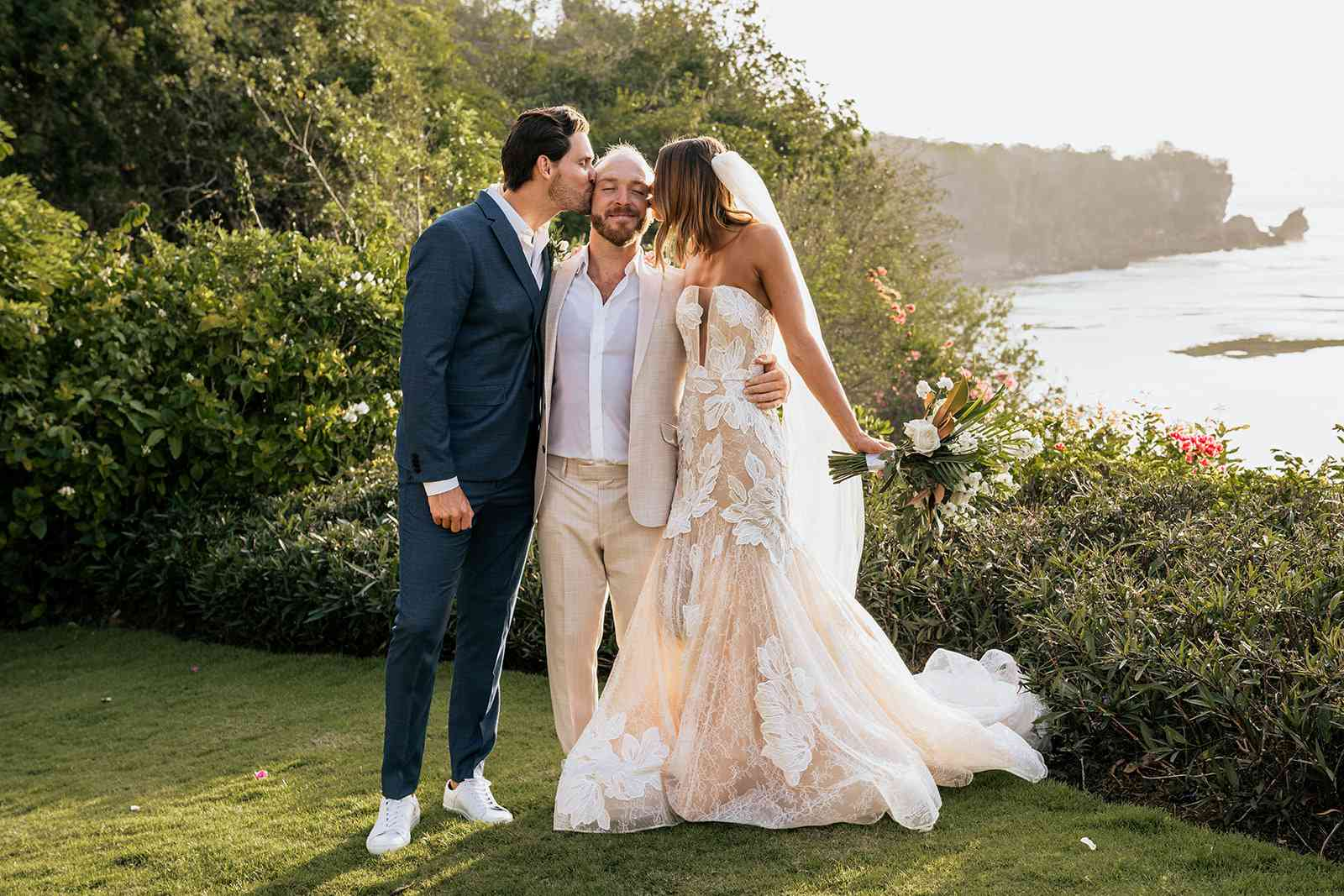 bride and groom and friend