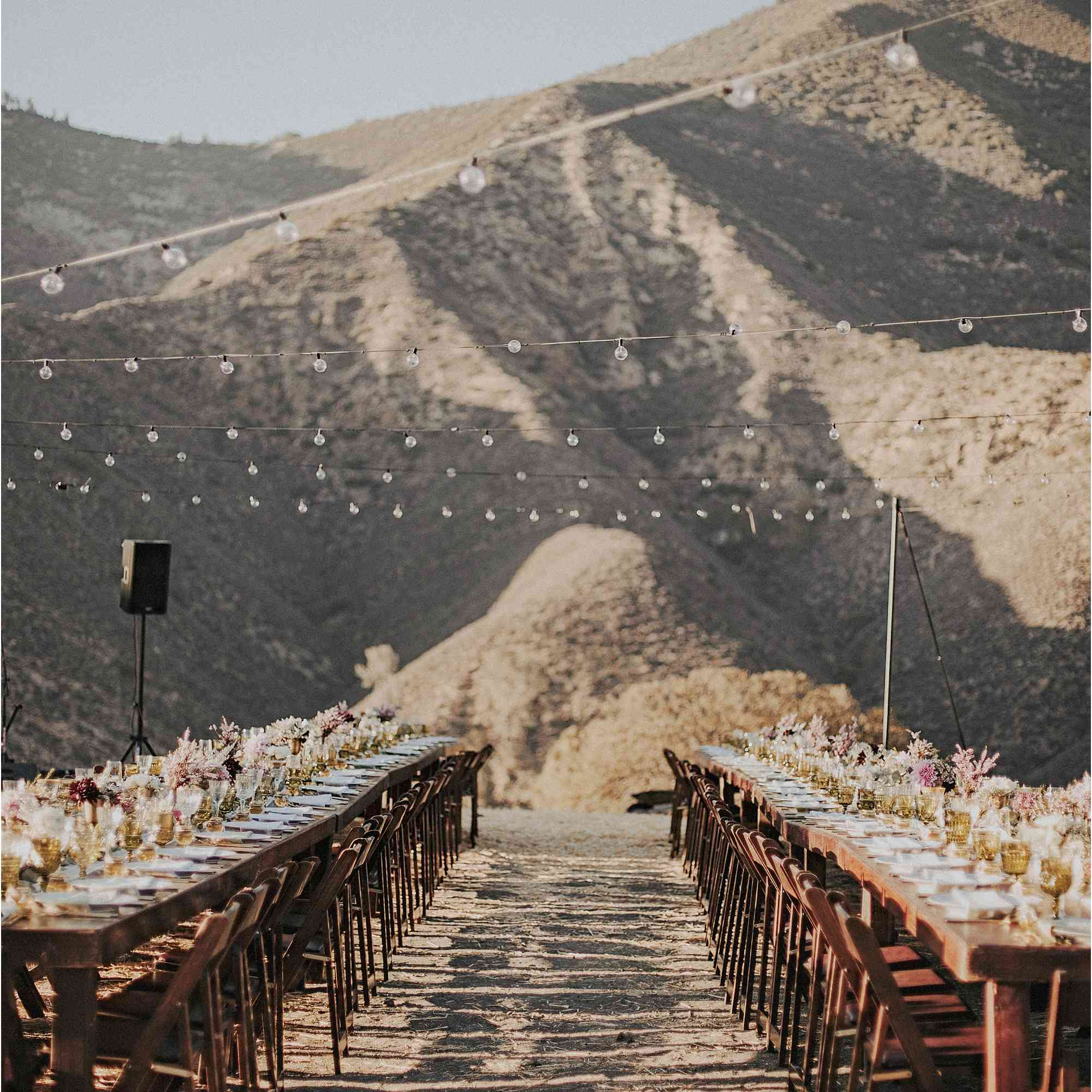 Reception tables set-up in desert setting