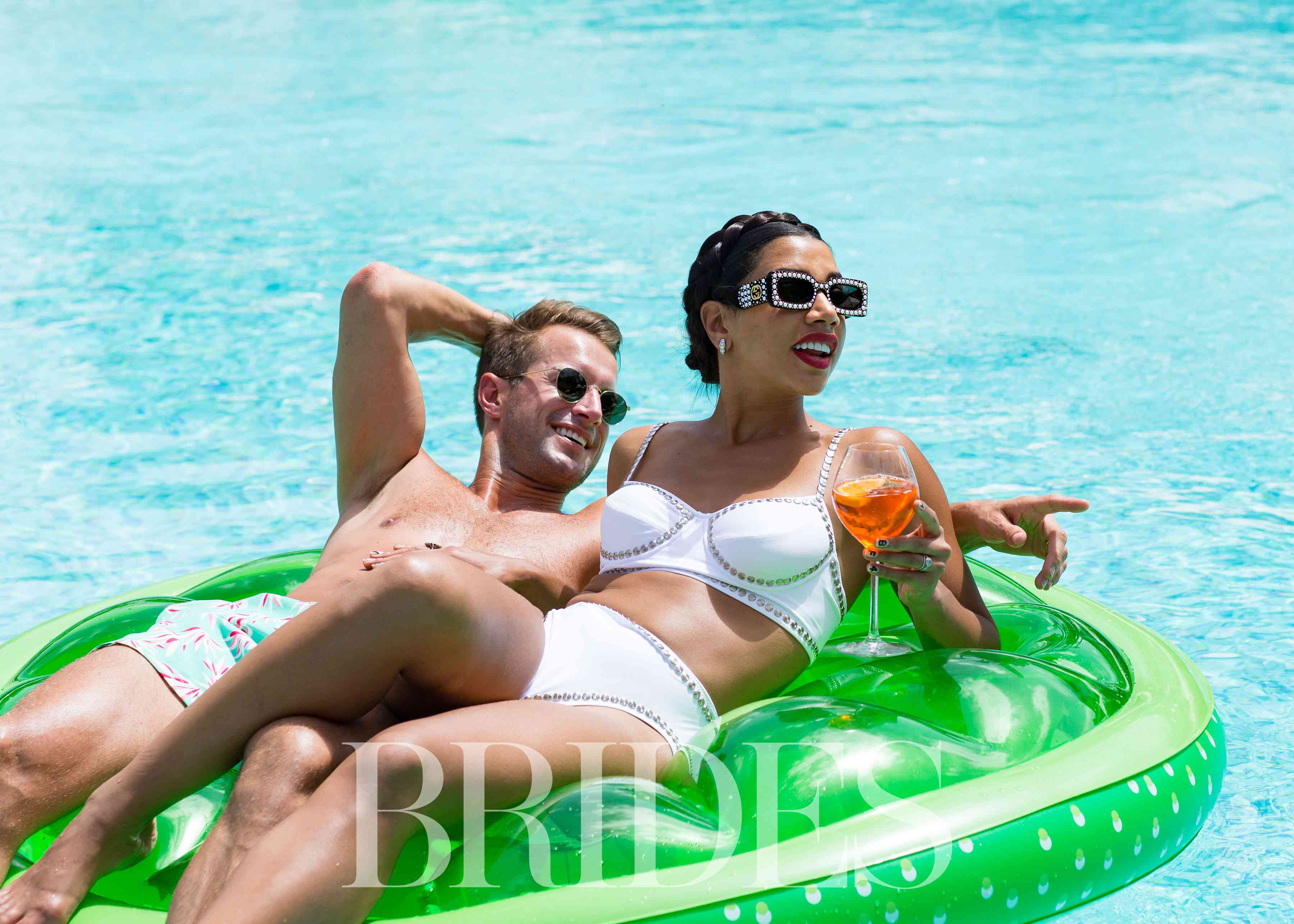 Hannah and Brendon on Pool Float