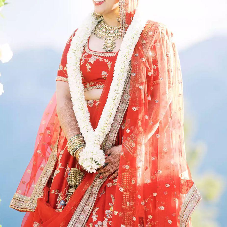 Bride in red lengha
