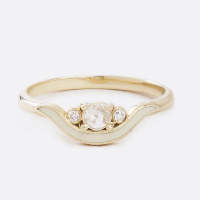 Margaret Cross Ivory Enamel and Diamond Ring
