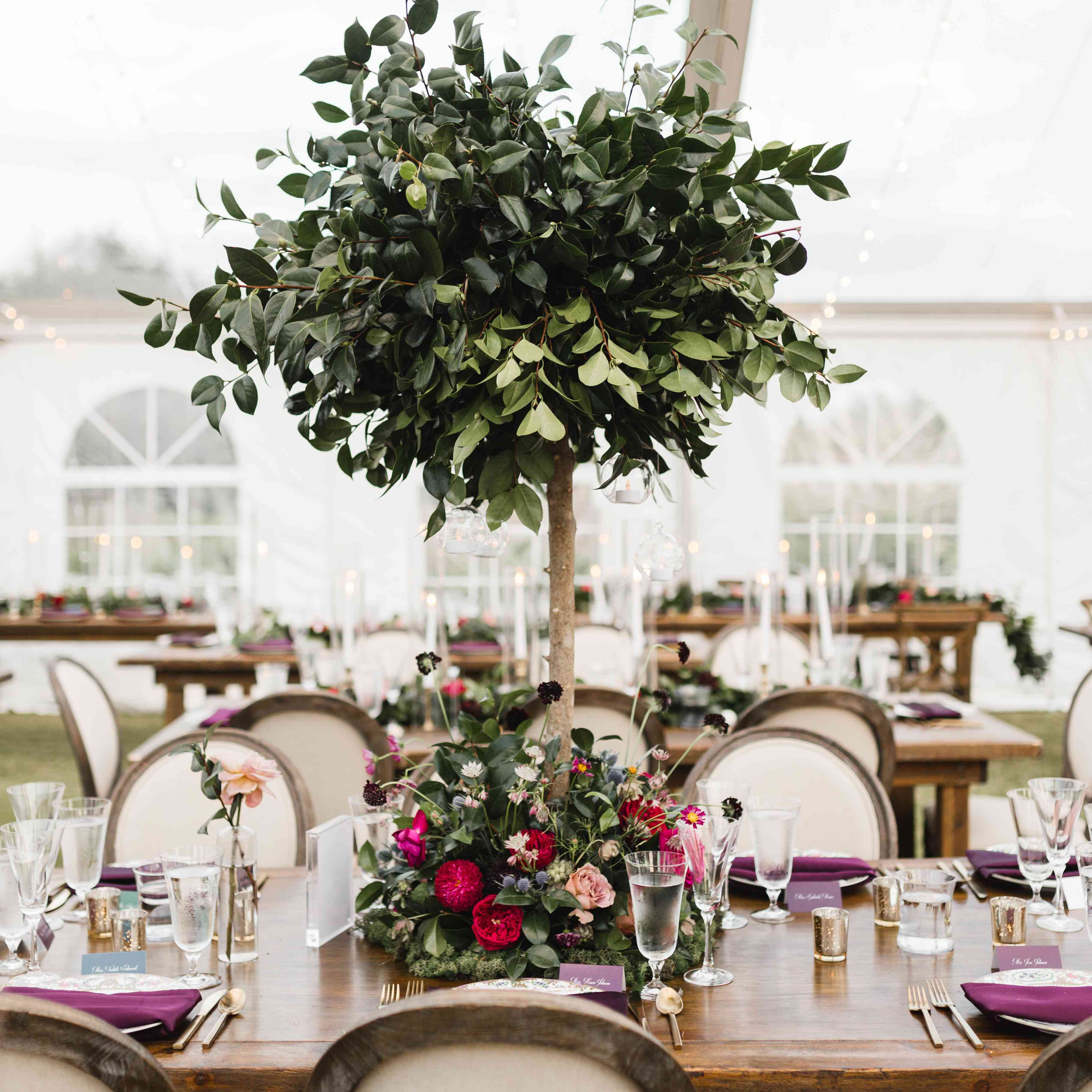 tree centerpiece with flowers