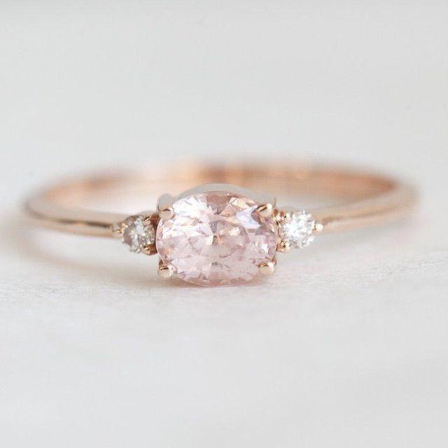 Capucinne Oval Peach Sapphire Ring, Diamond Sapphire Ring